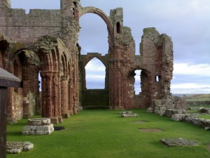 The ruins of the Abbey on Holy Island.