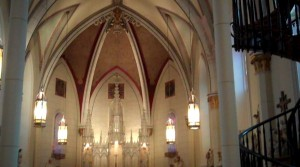 The interior of The Loretto Chapel in Santa Fe, N.M., home of a mysterious, and some would say miraculous, spiral staircase. (Marrton Dormish)