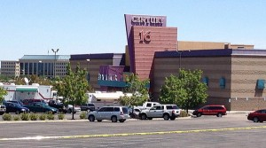 The Century 16 Theater in Aurora, Colo., where a July 20 shooting killed 12 people and wounded 58. This photo was taken the day after the shooting. (Photo by Algr via Wikimedia Commons)