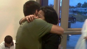 A guest of Casa de Paz reuniting with her brother after he was released from the immigrant detention center on Oct. 25. (Courtesy of Caza de Paz)