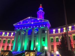 Merry Christmas and Happy New Year, everyone, courtesy of the Denver (Colo.) City and County Building. (Marrton Dormish)
