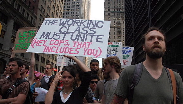 Occupy Wall Street marchers on Sept. 30. (Thomas Good/NLN)