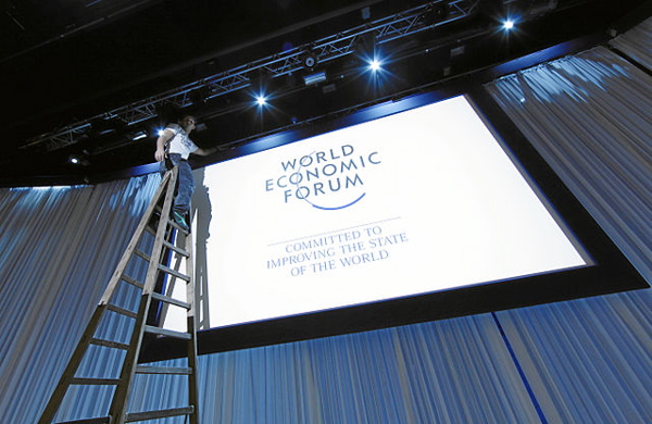 Setting up at the 2012 WEF meeting in Davos, Switzerland. (World Economic Forum via Wikimedia Commons)