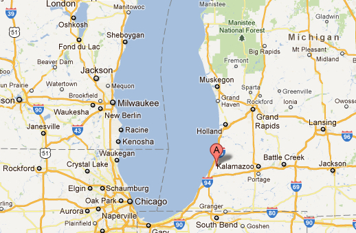 "Covert, Mich., originally named ""Deerfield,"" is located near the shore of Lake Michigan. (Google Maps)"