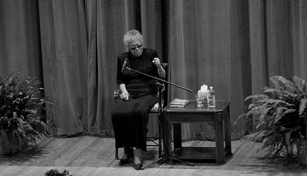 Poet and activist Maya Angelou addresses students and staff at Tennessee Technological University on March 21, 2012. (Brian Stansberry via Wikimedia Commons).