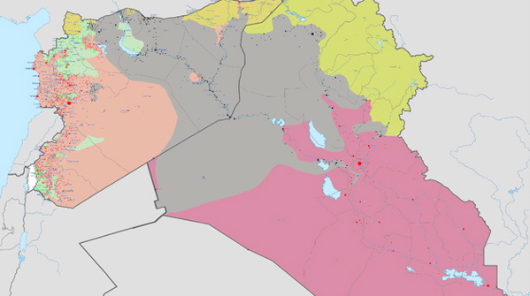 A map (created June 2014) of the Syrian Civil War and the Iraqi insurgency led by ISIS. Grey=Area controlled by ISIS; Pink=area controlled by the Iraqi government; Peach=area controlled by the Syrian government; Yellow=area controlled by Kurds (An updated map of the Syrian Civil War and the Iraqi insurgency led by ISIS. (By Haghal Jagul via Wikimedia Commons)